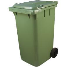 Пластиковый мусорный контейнер с крышкой 2 колеса 240л