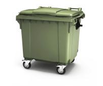 Пластиковый мусорный контейнер с крышкой 4 колеса 1100л