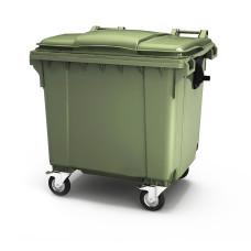 Пластиковый мусорный контейнер с крышкой 4 колеса 1100л Германия